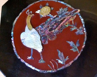 Gorgeous Vintage Asian Red and Black lacquer Box with mother of pearl inlay and peacock detail