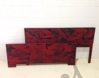 Columbus Day Sale vintage red full headboard and footboard