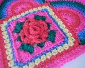 Crocheted Rose Heart Pillow Pattern (without Granny Rose)
