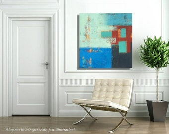 "Abstract painting - Original unique large abstract painting - blue, turquoise, orange, gray, red  - app.  27"" x 28 """