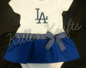 Los Angeles Dodgers inspired baby girl outfit
