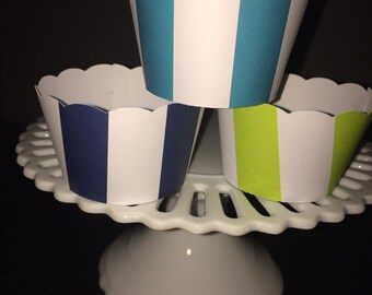 Navy and white stripe for VivalaGem Cupcake Wrappers