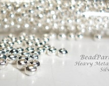 Silver Plated Metal Seed Beads - Size 8/0 - 50 grams