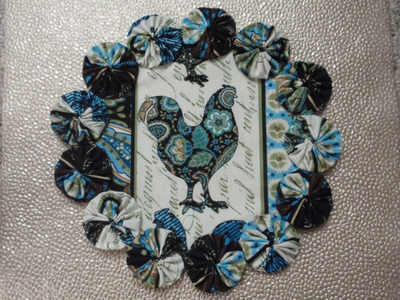 French Country Paisley Rooster Print Yo Yo doily candle mat penny rug style