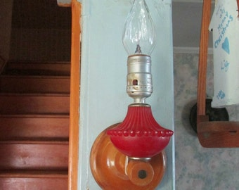 Retro Unusual Wall Light/Sconce, Wood and Glass Light, Home Decor, Child's Room Wall Hanging, Lighting