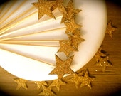Gold Glitter Star Cupcake Toppers - Set Of 6  - Vintage Inspired - Art Deco