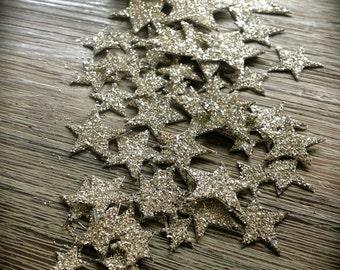 Great Gatsby Confetti, Sterling Silver Glitter, Tiny Hand Cut Stars, Hand Glittered, 58 Stars