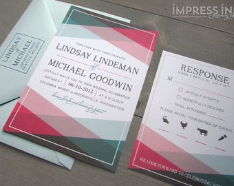 Color Block Modern Geometric Wedding Invitation Sample | Flat or Pocket Fold Style