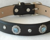 Black Leather Dog Collar with Sky Blue Rivets Set Inside Silver  Bezels and crystals