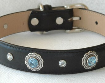 Black Leather Dog Collar, with Sky Blue Rivets Set Inside Meta  Bezels ,  Recycled Leather Dog Collar, Available in Four Medium Sizes