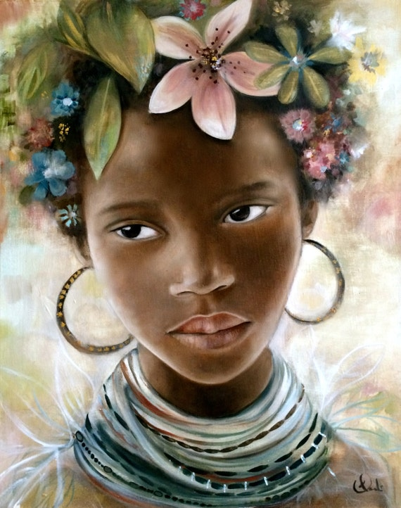 african girl with flowers