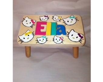 Hand Painted Kitty Kat stool