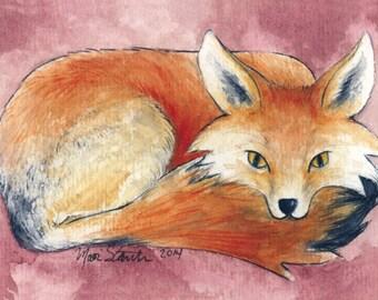 ACEO Fox on Pink giclée print / Art Card