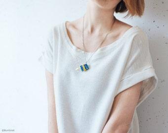 Tiny blue book necklace - floral pendant