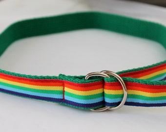 Girls Rainbow Belt Green and Rainbows Ribbon D Ring Kids Rainbow Belt Rainbow Ribbon Belt Belt with Rainbows Children's Adjustable Belt