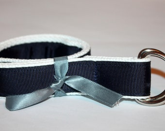 Kids Navy and White Belt D Ring Belt Velcro Optional
