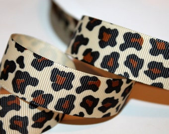Cheetah Ribbon Leopard Ribbon Leopard Grosgrain Ribbon Cheetah Print Ribbon Brown Leopard Ribbon Hair bow Supply Craft Ribbon