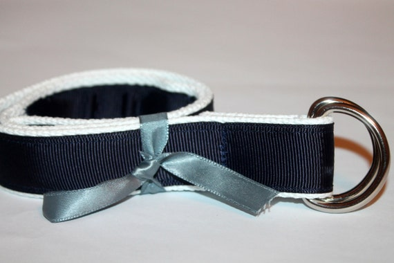 Kids Navy and White Belt D Ring Belt Velcro Optional