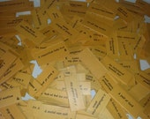 Vintage paper supplies 1940s game pieces lot of 12 Old word phrase cards mixed media art scrap projects