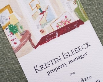 Interior Design Business Card, Staging Business Card, Watercolor interiors, Set of 50