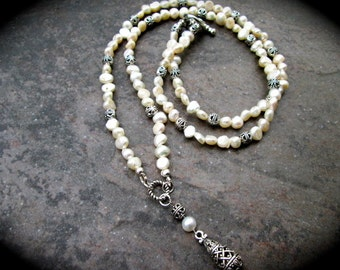 "Extra Long Baroque Pearl beaded necklace with Teardrop Pendant and Bali Beads 29"" or 36"" long  Rosary style Special Price"