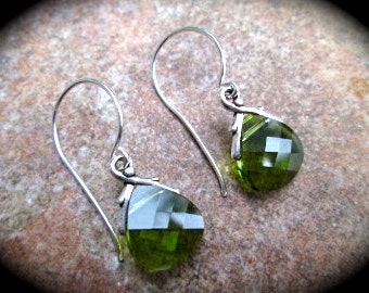 Olive Green Swarovski Crystal Briolette earrings Sterling Silver Earrings Wedding Jewelry Prom Jewelry Hottest Spring Color!