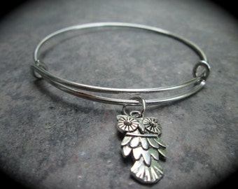 Owl Adjustable Bangle Bracelet  with silver finish Your Choice Adult or Child Size Wisdom bracelet Fall Jewelry