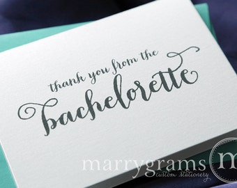 Bachelorette Party Thank You Card - Engagement, Bridal Shower or Bachelorette Thank You Note Cards, Hot Pink Stylish, Cute (Set of 10) CS02