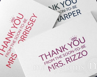 Bridal Shower Thank You's From the Soon-to-Be Mrs. Wedding Shower - Wedding Future Mrs. Bling Thank You's- Pink, Purple- Bachelorette (25ct)