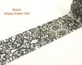 Black Lace - Japanese Washi Masking Tape - 30mm Wide - 11 Yards