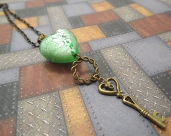 Lampworked Green Heart and Antiqued Brass Key Necklace