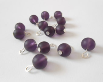 Purple Frosted Dangle Beads