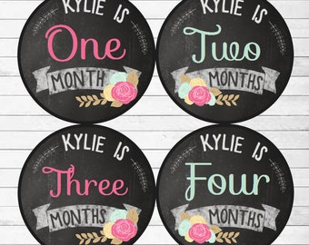 CUSTOM NAME Baby Girl Month Stickers Monthly Baby Stickers, Milestone Baby Month Stickers, Monthly Bodysuit Mod Floral (Chalkboard Kylie)