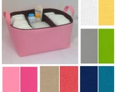 "Customize XL Diaper Caddy with Two Dividers 13""x11""x7"", Fabric Storage Bin, Basket You Choose Solid Colors"