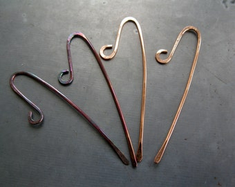 BALANCE Copper Earwires, Handmade,  2 Pairs, Artisan Earwires