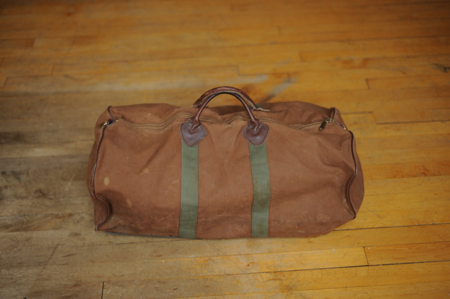 vintage ll bean canvas and leather large duffle bag