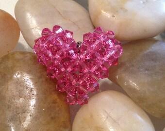Swarovski puffy heart, 3d beaded heart, Valentine's day