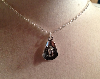 Cowboy Hat Necklace - Pendant Jewelry - Silver Jewellery - Western - Rodeo - Girls Children