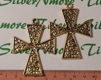 3 pcs per pack 60x50mm Texture Cross Pendant Antique Gold Lead Free Pewter