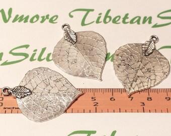 3 pcs per pack 46x35m Leaf Antique Silver Finish Lead Free Pewter