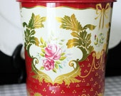 Beautiful Vintage Horner English Litho Tin Red Floral