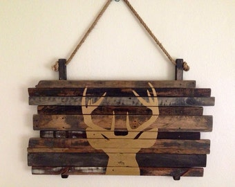 White Tail Deer Head Silhouette on Hardwood Plaque in Gold