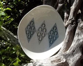 Vintage Iroquois China Blue Diamonds Vegetable Bowl, Serving Bowl, Oblong Bowl, Gumbo Dish, Retro