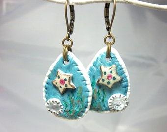 Starfish Earrings, Dangle Earrings, Summer Jewelry, Leverbacks, Polymer Clay Earrings