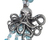 Octopus with Rhinestones n Aqua Blue Glass Beading KeyChain or Purse Jewelry