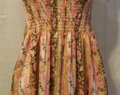 Handmade Smocked Womens Sundress Size 1X Pink, White, Beige and Brown with Flowers
