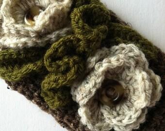 Crochet Women's or Child's Headwarmer in Brown and Tan, Crochet Headwarmer, Winter Hat, Accessories, Headwarmer with Flowers