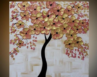 Original  abstract contemporary  gallery canvas  impasto  palette knife floral painting Asian Gold  by Nicolette Vaughan Horner