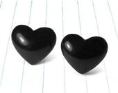 ON SALE black heart studs - black heart earrings - black heart jewelry - black earrings - black studs - black jewelry - anti valentines day