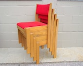 Stacking Oak Wood Chairs Red Upholstery - Industrial decor - set of 4 - All Original wooden
